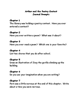 Arthur and the Poetry Contest comprehension questions