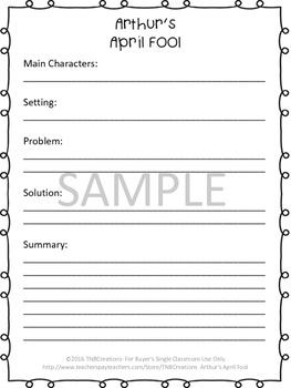 Arthur's April Fool Worksheets and Task Cards