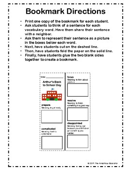 Arthur's Back to School Day Bookmark--- Bookworms Curriculum