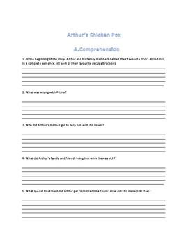Arthur's Chicken Pox Reading Comprehension Activity