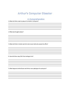Arthur's Computer Disaster Reading Comprehension Activity