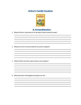 Arthur's Family Vacation Comprehension Activity