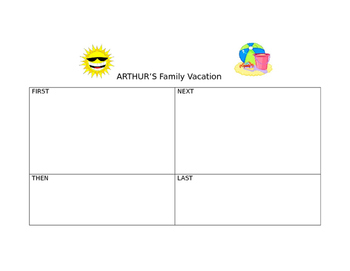 Arthur's Family Vacation Retell and Story Element organizers