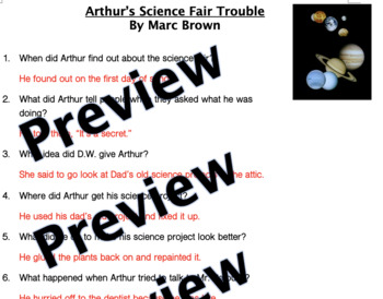 Arthur's Science Fair Trouble Reading Comprehension Questions