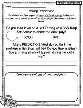 Arthur's Thanksgiving {Comprehension Printables & CRAFTIVITY!}