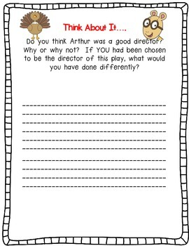 Arthur's Thanksgiving by Marc Brown-A Complete Book Response Journal