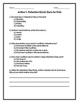 Arthur's Valentine Quick Quiz for Kids