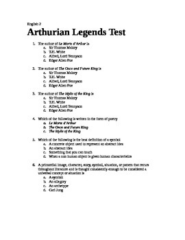 Arthurian Legends Test