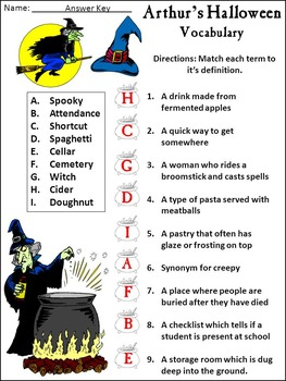 Halloween Reading Activities: Arthur's Halloween Activity Packet