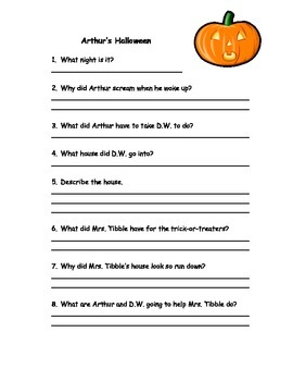 Arthur's Halloween Comprehension Worksheet