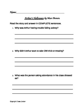 Arthur's Halloween by Marc Brown Comprehension Questions