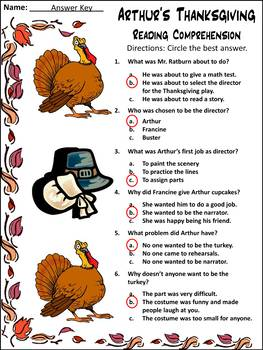 Thanksgiving Reading Activities: Arthur's Thanksgiving Activity Packet