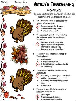 Thanksgiving Reading Activities: Arthur's Thanksgiving Activity Packet - Color