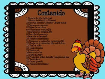 Arthur's Thanksgiving - Reading Comp Unit in Spanish