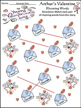 Valentine's Day Reading Activities: Arthur's Valentine Activity Packet