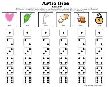 Artic Dice 5:  /L/ & /L/ Blends Articulation Practice for Speech Therapy
