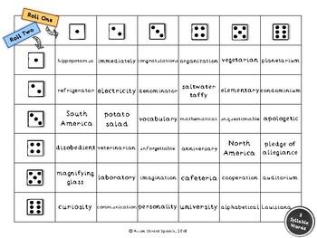 Artic Dice Game - Multisyllabic Words