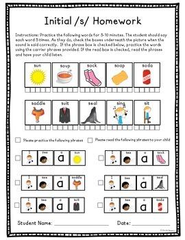 Artic Homework Later Sounds Bundle! l, lblends, s, sblends, z, sh, ch, j, th, r