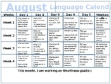 Artic/Language School Year Calendars Activities & Word Lists