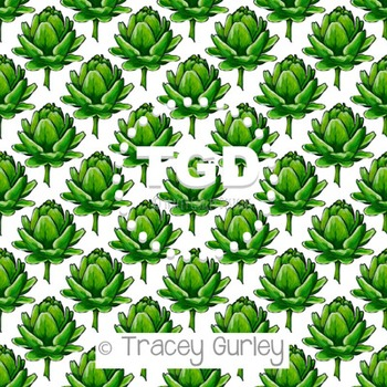 Artichoke on White digital paper Printable Tracey Gurley Designs