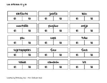 Article Agreement for el y la in Spanish