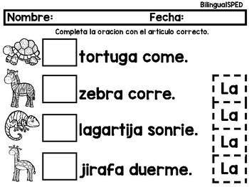 Articulos Gramaticales con Animales
