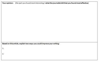 Article Analysis Reading Assignment for Junior High Journalism