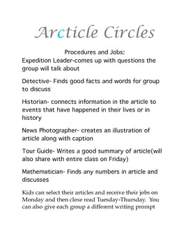 Article Circles for Non Fiction Groups procedures only
