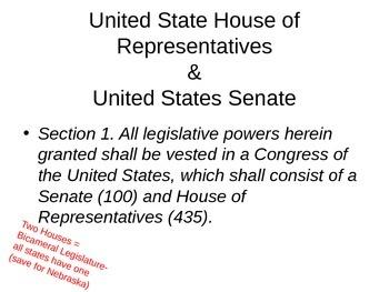 Article I/Legislature & Lobbying Power Point HS Govt