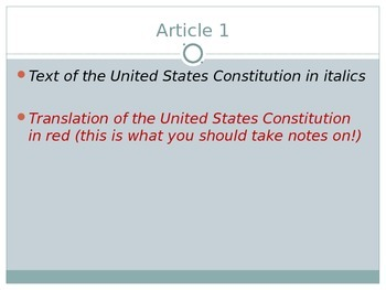 Article 1 Legislative - Congress - US Government - PowerPoint