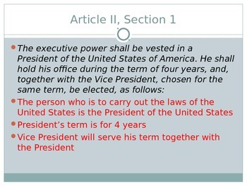 Article 2 Executive - President - US Government - PowerPoint