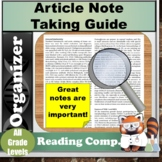 Article Note Taking Graphic Organizer