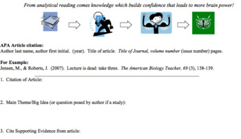Psychology - Article Reflection Handout