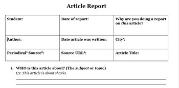 Article Report (Moderate Difficulty) - for newspapers, magazines, etc