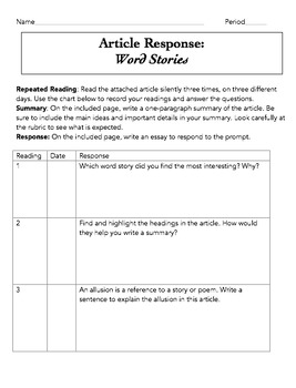 Article Response Word Stories