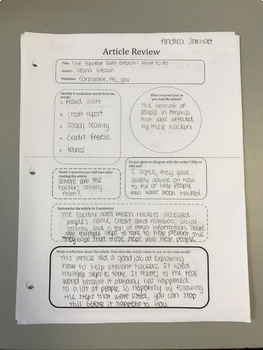 Article Review Graphic Organizer for Any Class