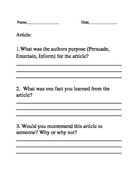 Article Review Worksheet