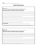 Article Summary Form