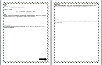 Article Summary Sheet- GIST, SUMMARIZE, QUESTION, CLARIFY- Reading Strategy