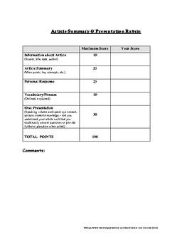 Article Summary Worksheet & Presentation Rubric Common Core