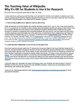 Article: The Teaching Value of Wikipedia: Why It's OK for Students to Use...