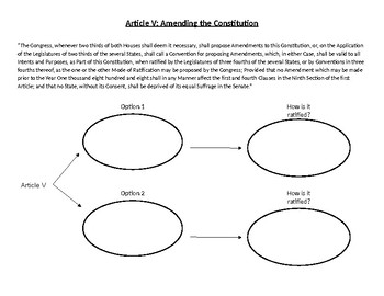 Article V: Amending the Constitution Worksheet by Social Studies Today