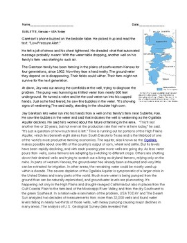 Article about Aquifer in Kansas and its Depletion w/questions
