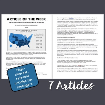 Article of Week Assignment Bundle (Includes 7 High-Interest Articles for Teens)