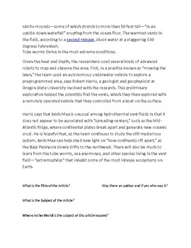 """Article of the Day """"Upside down Waterfalls"""" Assignment Worksheet"""