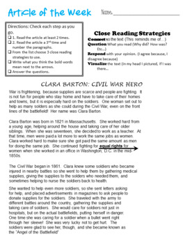Article of the Week-Non-Fiction Clara Barton- Close reading for Middle Grades