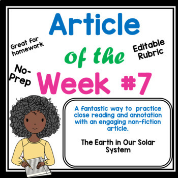 Article of the Week- The Earth and Our Galaxy Close Reading Middle Grades
