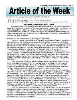Article of the Week Accounts From the Black Death