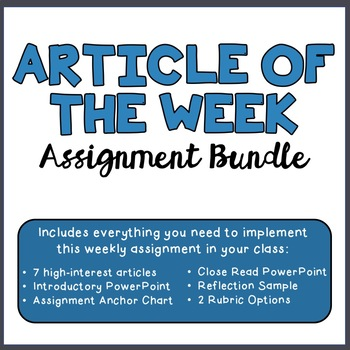 Article of the Week Assignment Intro, Volume 3