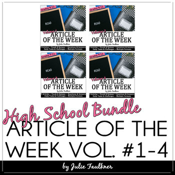 Article of the Week, NO PREP Workbook BUNDLE, Volumes 1-4